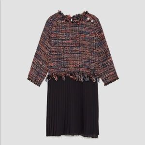Zara Tweed Dress With Pleated Hem Pink Black XS